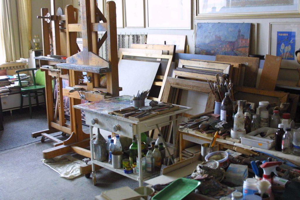 Barta Gyula, festő műterme.