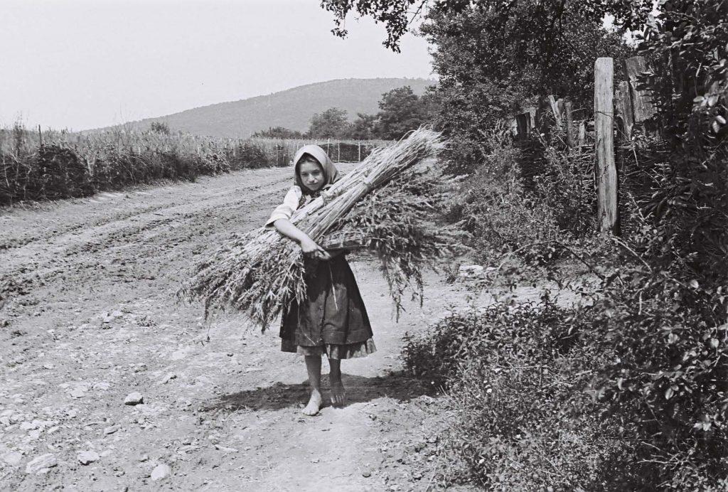 Kendert cipelő lány. (Arany Adalbert László zobor vidéki néprajzi fotói az 1940-es évekből. Lipcsey Gyula hagyatéka.)