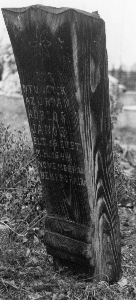 Fejfa a nyáradkelecsényi temetőben.